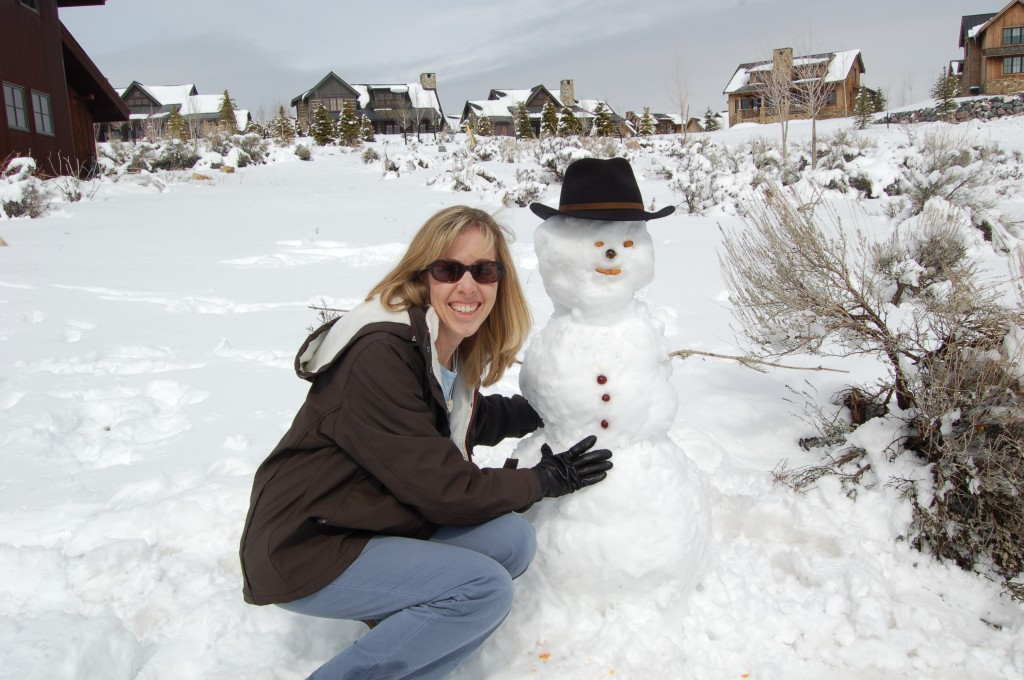 Building a snowman with my nephew Beau.
