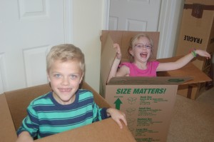 Even at 8 and 6, boxes provide endless entertainment!